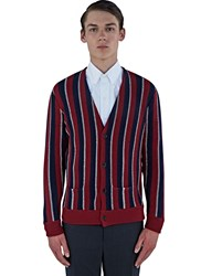 Saint Laurent Lame Striped Knit Cardigan Red
