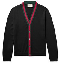 Gucci Tripe Trimmed Wool Cardigan Black