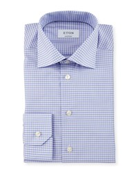 Eton Contemporary Fit Small Check Dress Shirt Lavender Purple Women's