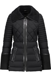Mackage Suede And Leather Trimmed Quilted Shell Coat Black