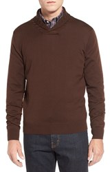 Men's Thomas Dean Shawl Collar Sweater Brown