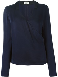 Thierry Mugler Mugler V Neck Wrap Blouse Blue