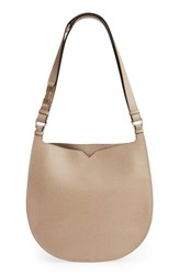 Valextra Weekend Medium Leather Hobo White Oyster