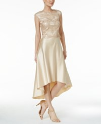 Betsy And Adam 2 Pc. Lace Satin High Low Dress Champagne