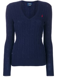 Polo Ralph Lauren V Neck Cable Knit Jumper Cashmere Wool S Blue