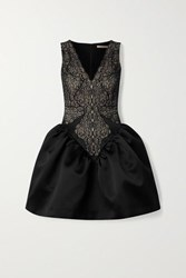 Christopher Kane Lace And Duchesse Satin Mini Dress Black