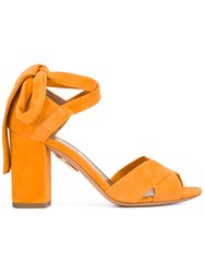 Aquazzura Tarzan Sandals Women Leather Suede 38 Yellow Orange