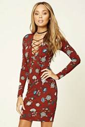 Forever 21 Lace Up Floral Dress Rust Aqua