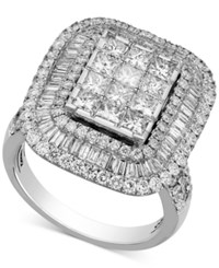 Macy's Diamond Square Halo Engagement Ring 3 Ct. T.W. In 14K White Gold