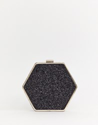 Warehouse Hexagon Across Body Bag In Black Glitter Multi