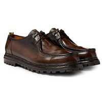 Officine Creative Volcov Polished Leather Derby Shoes Brown