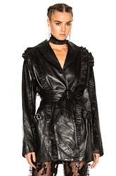 Rodarte Ruffle Leather Wrap Jacket In Black