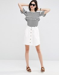 Asos Denim Button Front Mini Skater Skirt In Off White White