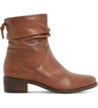Dune Pager Ruched Leather Ankle Boots Tan Leather