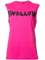 Mcq By Alexander Mcqueen Swallow Print Tank Pink Purple