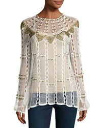 Kobi Halperin Rikki Long Sleeve Beaded Crochet Blouse White