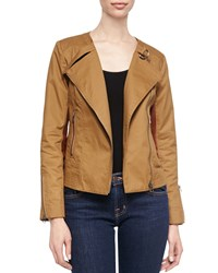 Cusp By Neiman Marcus Cotton Canvas Moto Jacket Brown