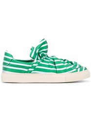 Ports 1961 Striped Sneakers Women Cotton Leather Rubber 38 Green