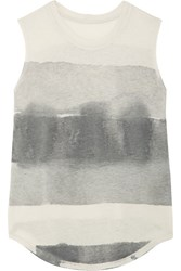 Raquel Allegra Tie Dyed Cotton Blend Jersey Tank Gray