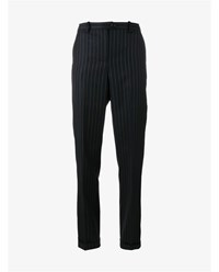 Jacquemus Slim Pinstripe Wool Trousers Navy Orange White Grey Black