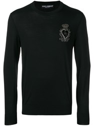 Dolce And Gabbana Logo Embroidered Jumper Black