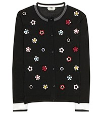 Fendi Embellished Cashmere And Silk Cardigan Black