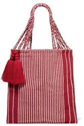 Nannacay Bianca Tasseled Striped Crocheted Cotton Blend Tote Red