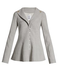 Rosie Assoulin Prince Of Wales Checked Fluted Jacket Light Grey