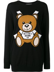 Moschino Toy Bear Paper Cut Out Intarsia Sweater Dress Black