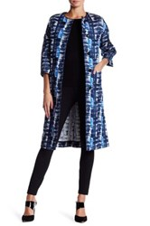 Oscar De La Renta Drop Shoulder Genuine Leather Button Jacquard Coat Blue