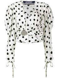 Jacquemus Polka Dot Top With Oversized Sleeves Women Silk Viscose 42 White