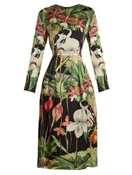 Adam By Adam Lippes Orchid Print Long Sleeved Silk Satin Dress Black Print