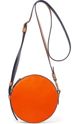 Diane Von Furstenberg Circle Color Block Leather And Calf Hair Shoulder Bag Bright Orange