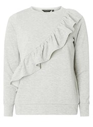 Dorothy Perkins Grey Frill Front Sweat Top