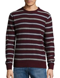 Black Brown Wool Blend Striped Sweater Dark Burgundy