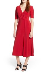 Chaus Laura Faux Wrap Midi Dress Red Star