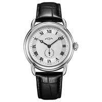 Rotary Men's Canterbury Leather Strap Watch Black Silver