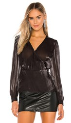 1.State 1. State Wrap Front Organza Blouse In Black. Rich Black