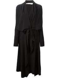 Isabel Benenato Draped Belted Coat Black