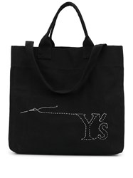 Y's Logo Embroidered Shopping Bag Black