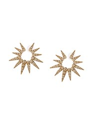 Oscar De La Renta Sea Urchin Large Earrings Metallic