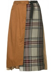 Guild Prime Pleated Contrast Check Skirt Brown