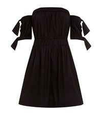 Milly Gathered Waist Bardot Dress Female Black