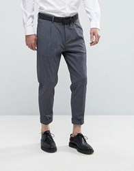 Selected Homme Tapered Cropped Smart Trousers With Stretch Navy