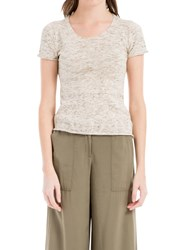 Max Studio Short Sleeve Knitted Top Oatmeal