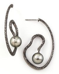 Gray Pearl And Black Diamond Spiral Earrings Eli Jewels White