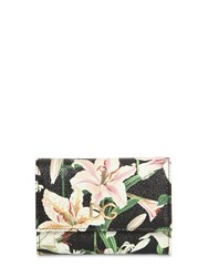 Dolce And Gabbana Lily Print Leather Wallet Gigli Nero