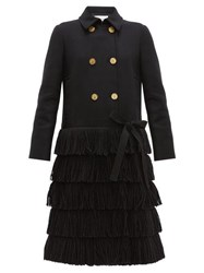 Red Valentino Redvalentino Bow Trim Fringed Wool Blend Coat Black