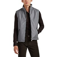 Isaia Suede Trimmed Padded Wool Vest Gray
