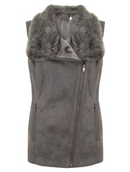 Mint Velvet Faux Fur Biker Gilet Grey